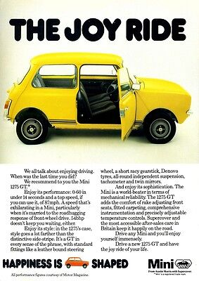 Mini 1275 Gt Austin Morris Bmc  Advert Poster Print From  1978