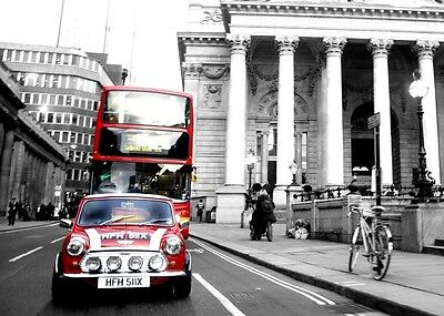 RED Mini / Mini Cooper  classic car wall Art  print with London RED Bus