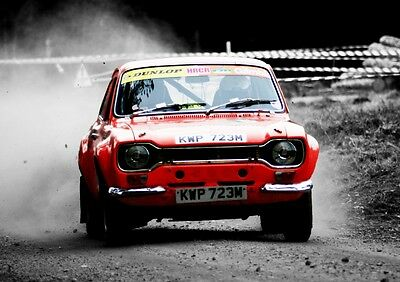 MK1 Ford Escort Poster - classic Rally car wall Art - Print  - RED