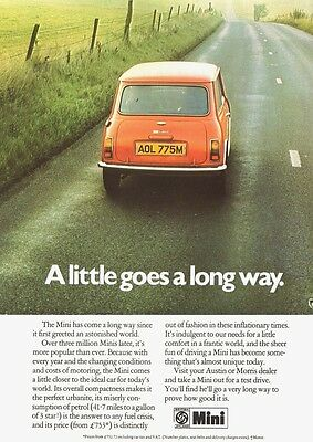 Mini Austin Morris  British Leyland Bmc  Advert Poster Print From  1973