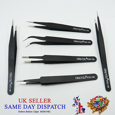 Professional Precision ESD Anti-Static Tweezers Stainless Steel B