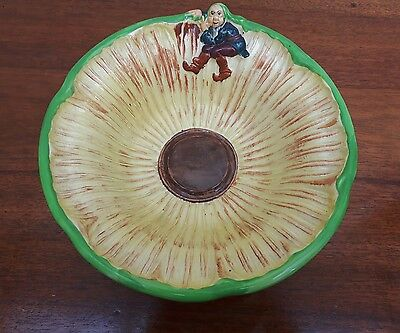 Fabulous 1940's Burleigh Ware Sunflower & Gnome Bowl - Good Vintage Condition