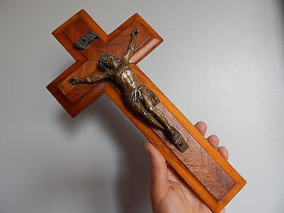 antique French crucifix,  wall cross ,made 19 th century