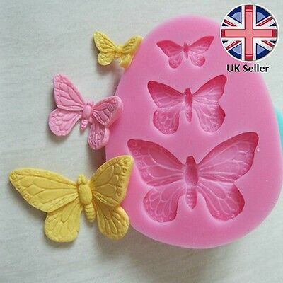 3 Butterfly shaped Silicone Mould for Cake Icing Decoration, 3D Butterflies