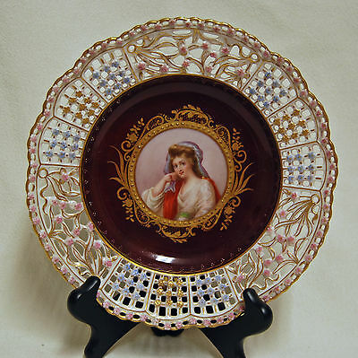 Rare ROYAL VIENNA Reticulated Porcelain Lady Woman Portrait Cabinet Plate