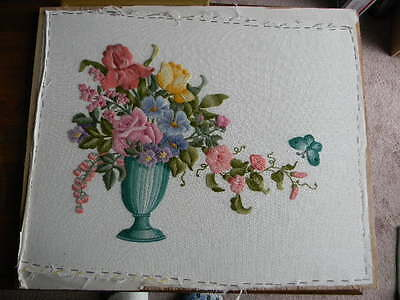Completed Elsa Williams Wool Crewel Embroidery STANFORD FLORAL  - 20x24 JCA New