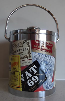 Retro Ice Bucket Old Scotch Whisky Colour Label Decoration Plastic Vintage