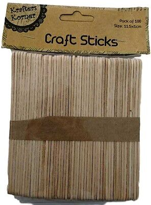 New 1000pc Natural Wooden Craft Stick Paddle Pop Sticks Ice Cream Coffee Stirrer