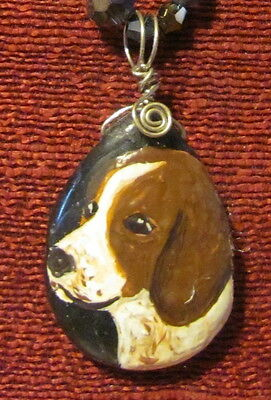 Welsh Springer Spaniel hand paitned on teardrop gemstone pendant/bead/necklace