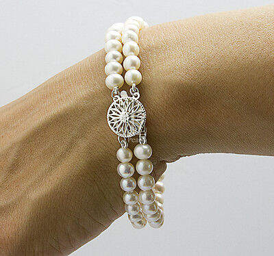 Freshwater Pearl Double Bracelet with S/Silver Filigree Clasp & Crystal Cross.