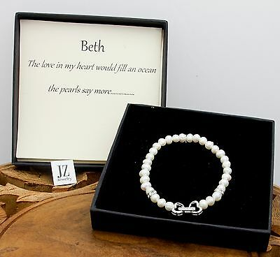 Freshwater Pearl Bracelet with Sterling Silver Double Heart Crystal Clasp.