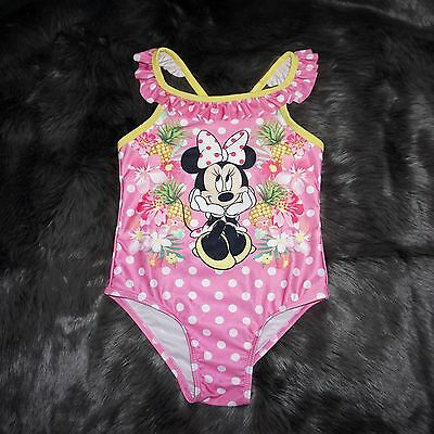 Disney MINNIE MOUSE Yellow Pink Polka Dots Pineapple Bathing Swim Suit Girls 5T