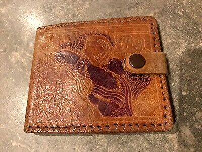 Vintage Tooled Leather Wallet - Neat Small Size