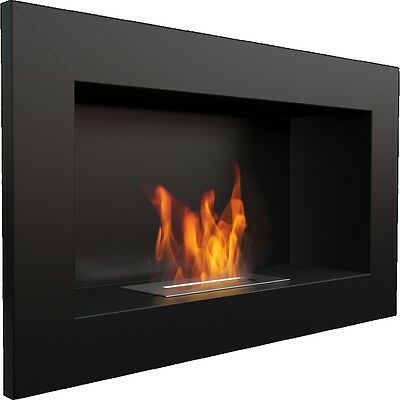 """FLAT"" Bio Ethanol Fireplace ""GOLF"" Black Wall mountable WARRANTY + GIFT"