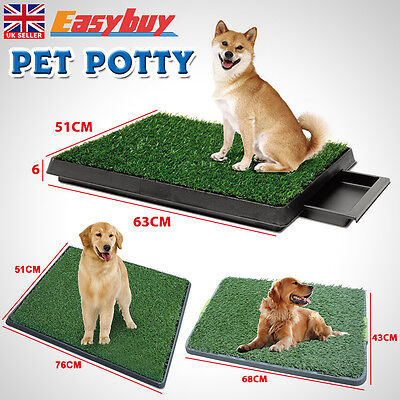 Indoor Pet Dog Grass Mat Potty Training Pad Toilet Loo Clean Pad Tray Large
