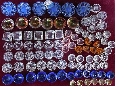 90 Lot Beautiful  Old Vintage Glass Buttons Crystal