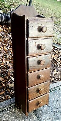 6 Drawer Spice Apothecary Jewlery Wood Hand Made Wall Cabinet drawer vintage