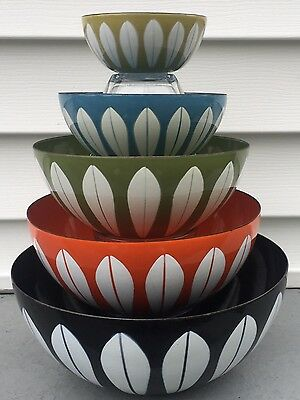 Original Set of 5 Cathrineholm Norway Lotus Enamel Graduated Mixing Bowls MCM
