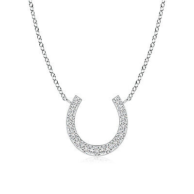 "Natural Classic Diamond Horseshoe Pendant Necklace 14K White Gold in 18"" Chain"