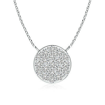 "Natural Round Diamond Disc Pendant Necklace 14K White Gold/Platinum 18"" Chain"
