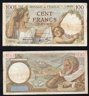 100 francs Francia Sully 1941 BB/VF  °