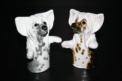 Chinese Crested set of spices (2 pc) dog ceramic figurine statue