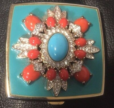 Vintage Beaded and Jeweled turquoise  mirror  Compact by Kenneth Lane