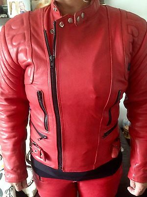 Vintage retro red leather motorcycle suit