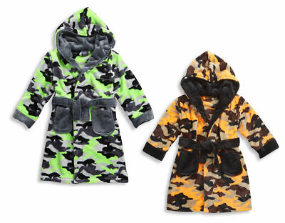 MINIKIDZ Boys Childrens Kids Velvety Soft Bath Robe Dressing Gown Camouflage New