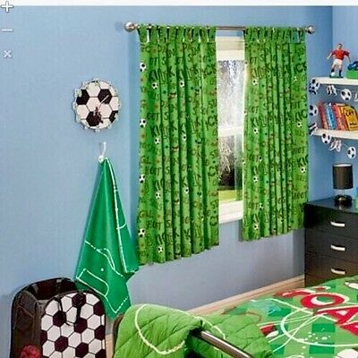 """REDUCED!!! Boys/Kids Football Curtains Fully Lined Eyelet Curtains 66""""x54"""" Green"""