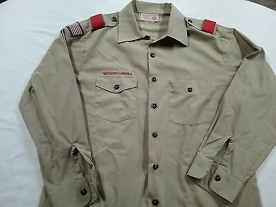 Boy Scouts Men's Uniform Long Sleeve Shirt Size Large Made in USA