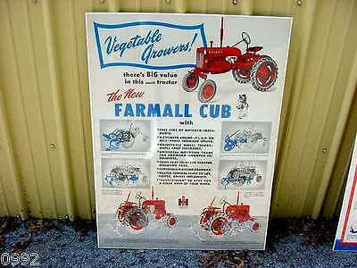 Very Rare Ih Farmall Cub Tractor Poster From 40's