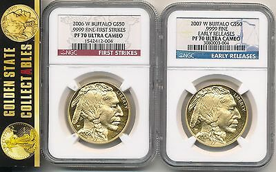 2006 W & 2007 W $50 Proof Gold Buffalos  Ngc Pf 70 First Strike/early Release X2
