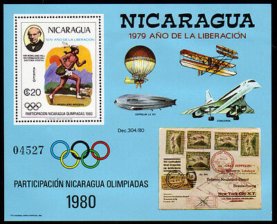 Nicaragua Bl. 111 **, 100. Todestag Sir Rowland Hill / Olympiade 1980