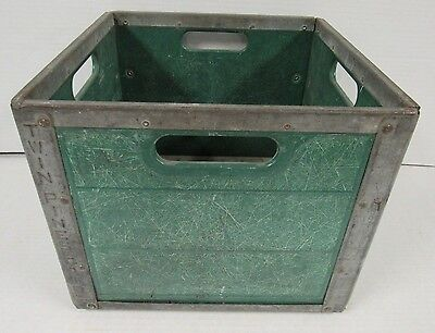 Vintage Twin Pines Dairy Milk Crate Green Plastic Metal By Erie Crates V641