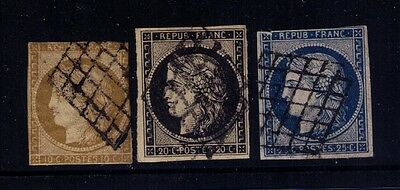 FRANCE 1849-50 Ceres Geniune Stamps SC# 1,3,6 USED