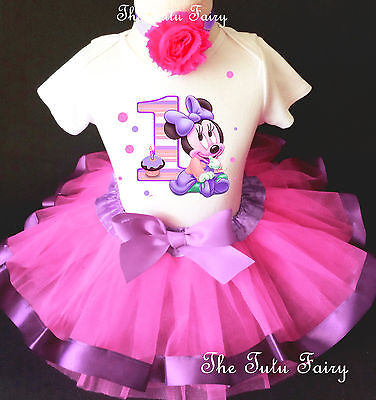 Baby Minnie Mouse Pink Lavender Girl 1st First Birthday Tutu Outfit Shirt Set