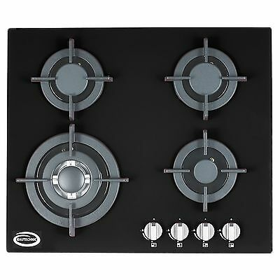 Bautechnic AGCG6042BK Gas-on-Glass Hob | 60cm, Black, Cast-Iron Pan Supports