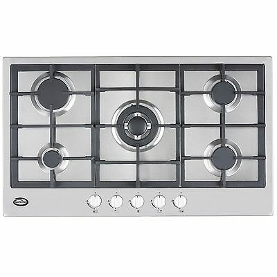 Bautechnic AICA9052 Gas Hob | 90cm worktop, Stainless Steel, Cast-Iron Supports