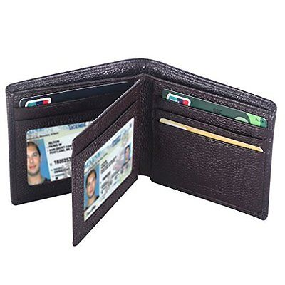 Father Day Gift RFID Blocking Leather Trifold Wallet For Men Card Holder Purse