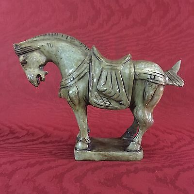 Jade Saddled War Horse On Base Carved Figure Tang Asian Chinese Excellent Cond