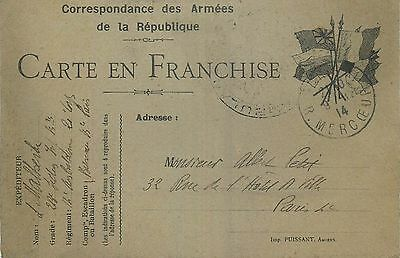 Carte En Franchise Correspondance Des Armees De La Republique Datee 1914