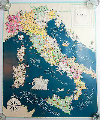 Italy Pictorial Cartoon Map Poster (1970s) [23.75x29.5]