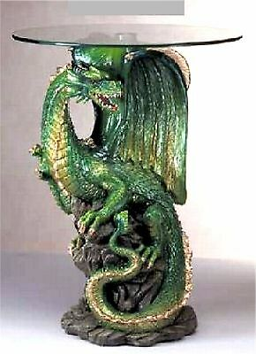 Modern ** SCULPTED MYSTICAL GREEN DRAGON ACCENT, END, SIDE OR NIGHT TABLE ** NIB