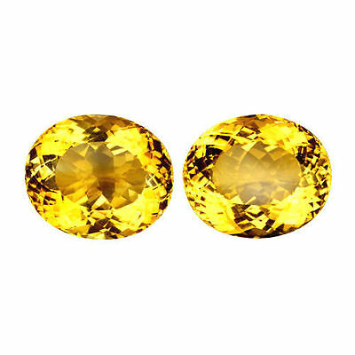 44.180Cts Resplendent Top Luster Golden Yellow Natural Citrine Ovl Matching Pair