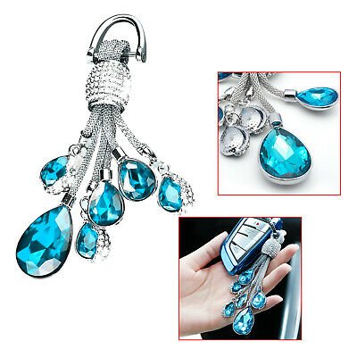 Universal Fit Crystal Jewelry Bling KeyChain Key Holder Ring Diamond Blue