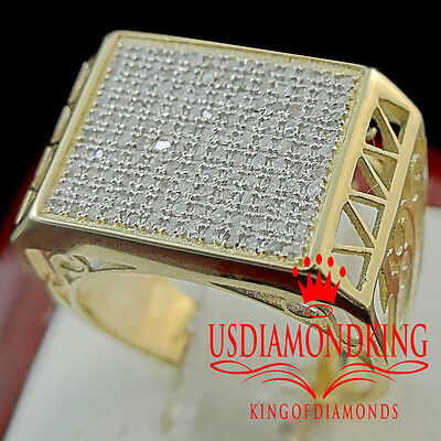 New 100% 10K Solid Yellow Gold Mens Pinky Wedding Band Real Genuine Diamond Ring