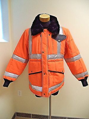 Refrigwear HiVis Iron Tuff Mens Insulated Hooded Coat  Waterproof SZ L/Short