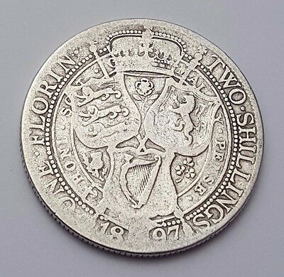 1897 - Silver - Two Shillings / Florin Great Britain Victoria - English UK Coin