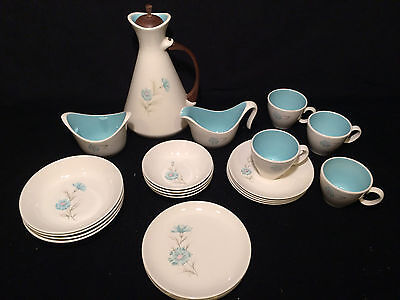 23 Piece Vintage Turquoise and White Porcelain Luncheon / Coffee / Cake Set